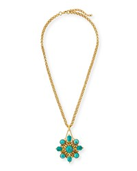 24K Gold Plated Turquoise Pendant Necklace Jose And Maria Barrera