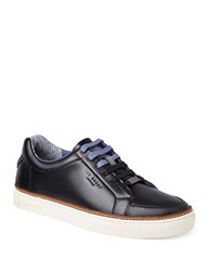 Ted Baker Round Toe Leather Sneakers Black