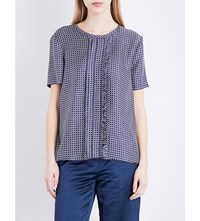 Max Mara Fuxia Silk Twill Top Navy