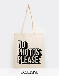Reclaimed Vintage 'No Photos' Tote Beige