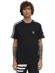 Adidas Logo Cotton Jersey T Shirt Black