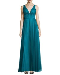 Ml Monique Lhuillier Sleeveless V Neck Plisse Gown Teal Blue