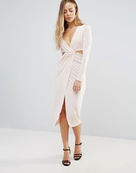 Daisy Street Wrap Front Dress With Cut Out Sides Nude Beige