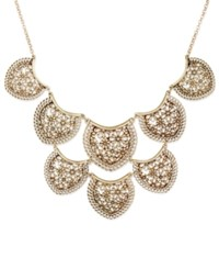 Lucky Brand Gold Tone Flower And Lace Statement Necklace