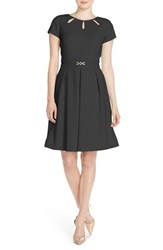 Women's Ellen Tracy Cutout Neck Fit And Flare Dress Black