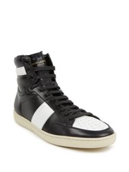 Yves Saint Laurent Colorblock Leather High Top Sneakers