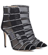 Jimmy Choo Belle 100 Mesh Ankle Boots Black