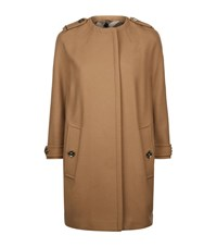 Burberry Technical Wool Cashmere Collarless Coat Female Camel