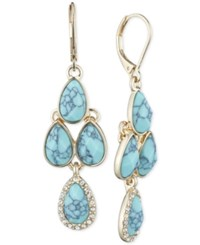 Anne Klein Gold Tone Pave Cobalt Blue Crystal Chandelier Earrings Teal