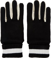Ganryu Black Wool And Leather Gloves
