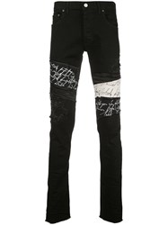 Fagassent Distressed Logo Print Skinny Jeans Black