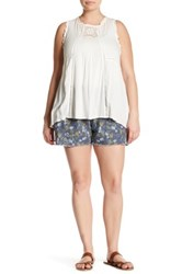 Jolt Printed Frayed Hem Linen Blend Short Plus Size Multi