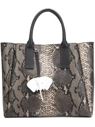 Christian Siriano Snakeskin Effect Tote Black
