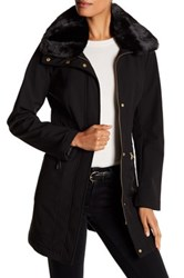 Via Spiga Faux Fur Collar And Faux Leather Accented Coat Black