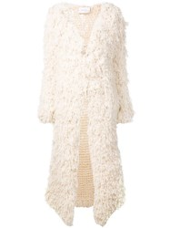 Ryan Roche Open Long Cardigan White