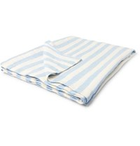 Onia Striped Linen Beach Blanket Blue
