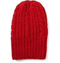 Connolly Cable Knit Virgin Wool Beanie Red