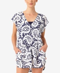 Anne Cole Pattie Paisley Printed Tunic Cover Up Women's Swimsuit Navy White