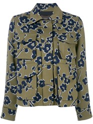 Odeeh Floral Print Fitted Jacket Green