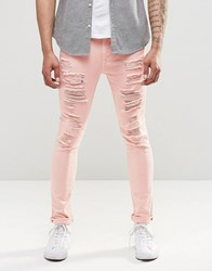 Asos Super Skinny Jeans With Extreme Rips In Pink Rose Smoke