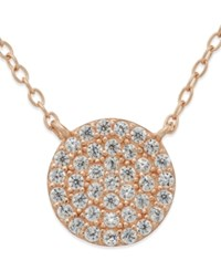 Studio Silver Cubic Zirconia Circle Pendant Necklace In 18K Rose Gold Over Sterling Silver