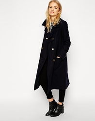 Asos Pea Coat With Patch Pockets On Midi Length Navy