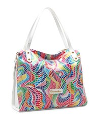 Braccialini Martina Leather Shoulder Bag White Multi