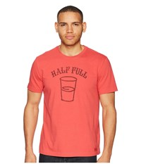 Life Is Good Half Full Crusher Tee Americana Red T Shirt