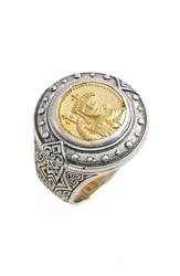 Konstantino Men's Byzantium Carved Face Ring