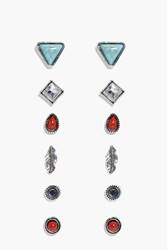 Boohoo Feather Stone Stud 6 Earring Set Silver