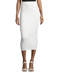 Michael Kors Soutache Embroidered Midi Skirt White