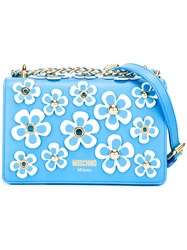 Moschino Floral Embellished Crossbody Bag Blue