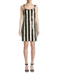 Cupcakes And Cashmere Johan Striped Sequin Cocktail Dress Black