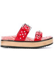Alexander Mcqueen Studded Embroidered Sandals Women Leather Metal Rubber 36