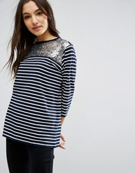 Asos T Shirt With Sequin Yoke In Stripe Navy