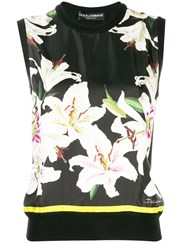 Dolce And Gabbana Floral Print Knit Black