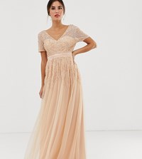 Maya Mesh All Over Scattered Sequin Pleated Maxi Dress In Soft Peach Pink