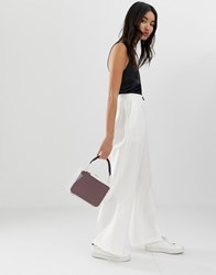 Asos Design Linen Wide Leg Trousers With Contrast Button White