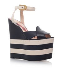 Gucci Sally Layer Wedges Female Blue