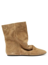 Isabel Marant Rullee Slouched Suede Ankle Boots Khaki