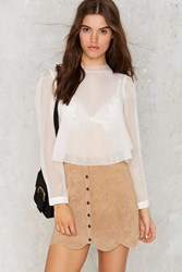 Nasty Gal J.O.A. Multi Layer Mode Sheer Blouse