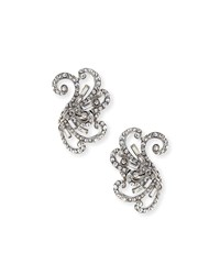 Jose And Maria Barrera Swirled Crystal Clip On Earrings Silver Crystal