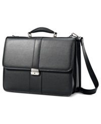 Samsonite Leather Flapover Briefcase Black