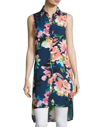 Neiman Marcus Floral Print Tunic Blouse Multi