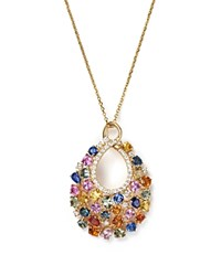 Bloomingdale's Diamond And Multi Sapphire Pendant Necklace In 14K Yellow Gold 16 Multi Gold