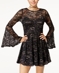 Material Girl Juniors' Lace Fit And Flare Dress Created For Macy's Gold Combo