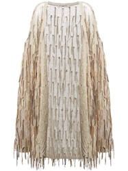 Mes Demoiselles Fringed Cardigan Nude And Neutrals