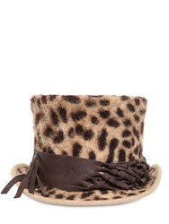 Move Leo Printed Melusine Lapin Fur Top Hat