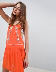 Kiss The Sky High Neck Embroidered Dress With Cut Out Sides