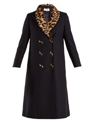 Muveil Double Breasted Leopard Print Collar Woven Coat Navy